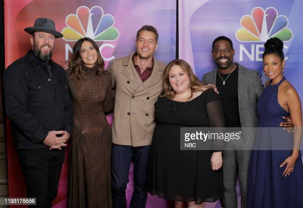 "NBCUniversal Press Tour, January 11, 2020 -- Pictured: NBC' s ""This Is Us"" cast Chris Sullivan, Mandy Moore, Justin Hartley, Chrissy Metz, Sterling..."