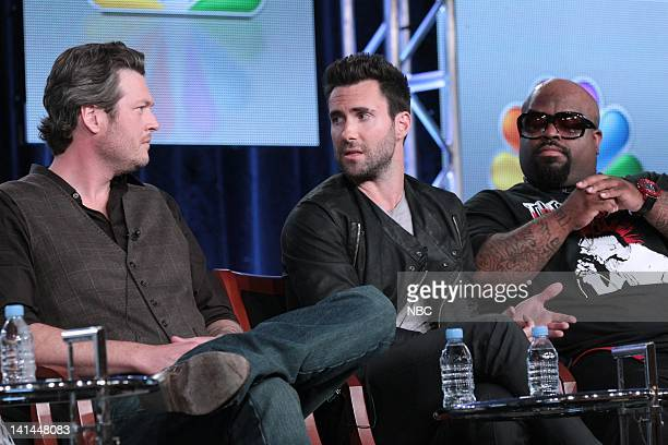 EVENTS NBCUniversal Press Tour January 2012 The Voice Session Pictured Blake Shelton Adam Levine Cee Lo Green Photo by Chris Haston/NBC/NBCU Photo...