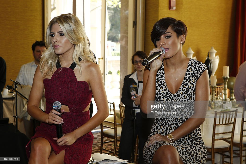 EVENTS -- NBCUniversal Press Tour January 2013 -- Pictured: (l-r) Mollie King, Frankie Sandford, 'Chasing the Saturdays' --