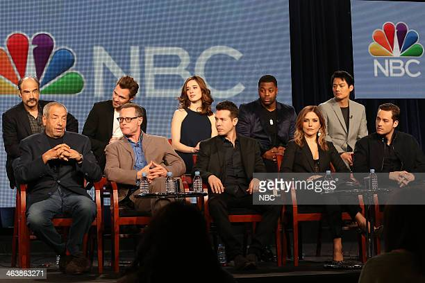 "NBCUniversal Press Tour, January 2014 -- ""Chicago P.D."" Session -- Pictured: Back Row: Elias Koteas, Patrick Flueger, Marina Squerciati, LaRoyce..."