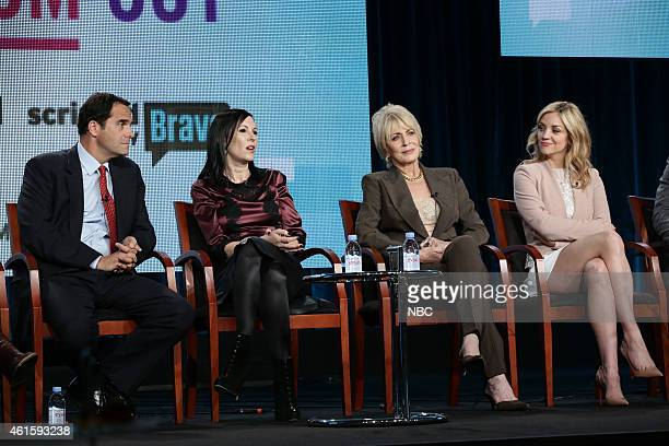 EVENTS NBCUniversal Press Tour January 2015 Odd Mom Out Session Pictured Andy Buckley Jill Kargman Joanna Cassidy Abby Elliott