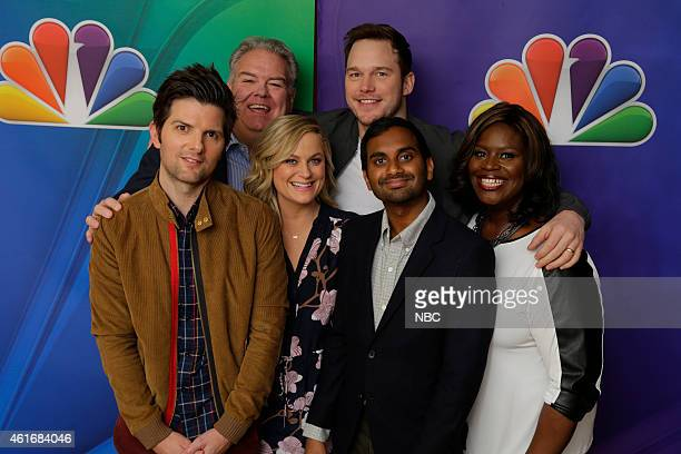 EVENTS NBCUniversal Press Tour January 2015 Parks and Recreation Pictured Adam Scott Jim O'Heir Amy Poehler Chris Pratt Aziz Ansari Retta