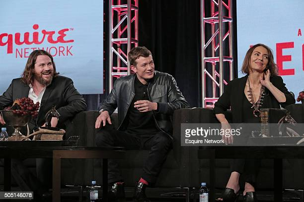 "NBCUniversal Press Tour, January 2016 -- Esquire Network's ""Beowulf"" Session -- Pictured: Keiran Bew, Ed Speerlers, Joanne Whalley --"