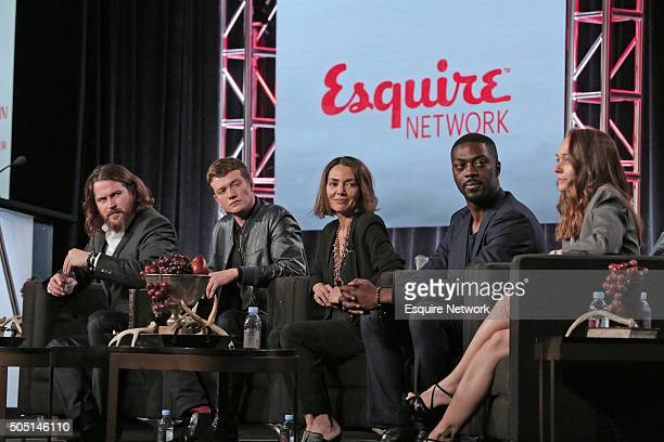 "NBCUniversal Press Tour, January 2016 -- Esquire Network's ""Beowulf"" Session -- Pictured: Keiran Bew, Ed Speerlers, Joanne Whalley, David Ajala,..."