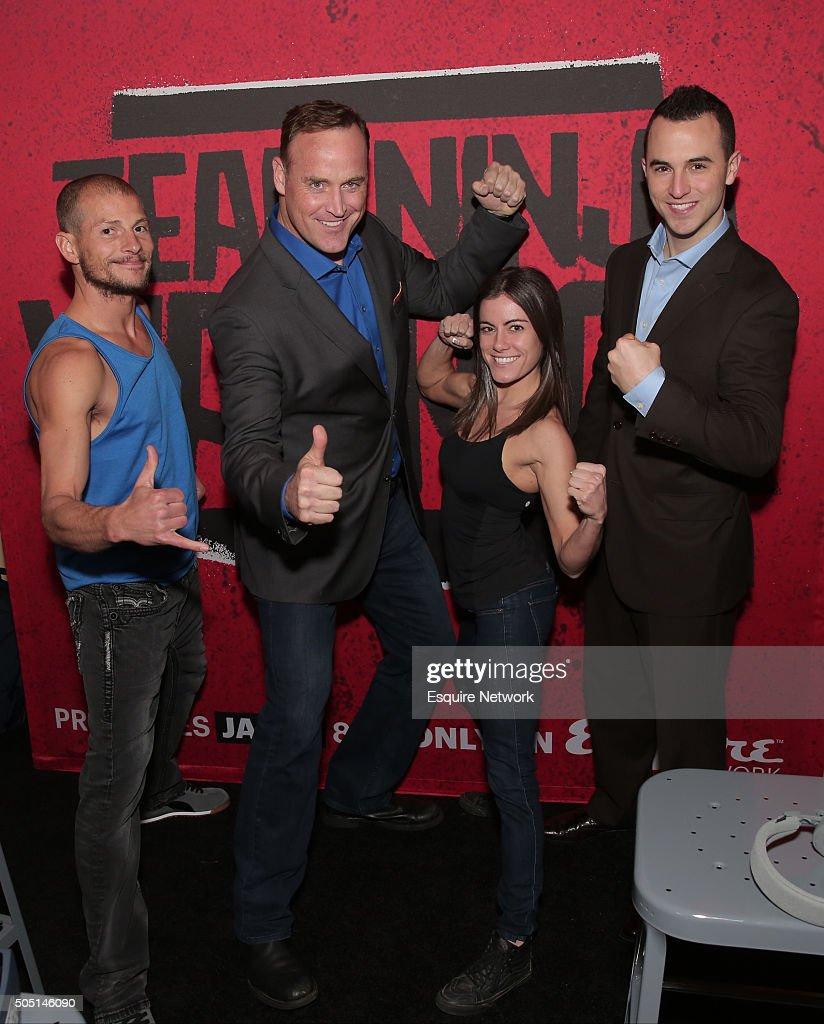 EVENTS -- NBCUniversal Press Tour, January 2016 -- Esquire Network's 'Team Ninja Warrior' Activation -- Pictured: (l-r) Brent Steffenson, Matt Iseman, Host; Kacy Catanzaro, Joe Moravsky --
