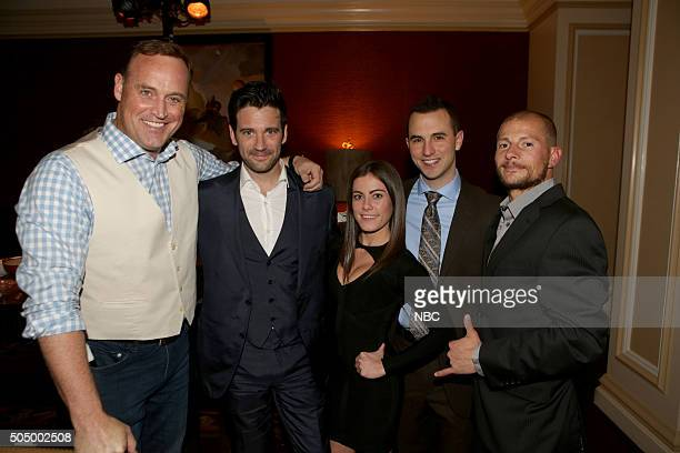 EVENTS NBCUniversal Press Tour January 2016 NBCUniversal Party Pictured Matt Iseman 'Team Ninja Warrior' Colin Donnell 'Chicago Med' Kacy Catanzaro...