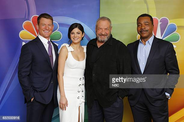 EVENTS NBCUniversal Press Tour January 2017 NBC's 'Chicago Justice' Pictured Philip Winchester Monica Barbaro Dick Wolf Executive Producer Carl...