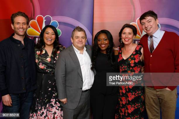 EVENTS NBCUniversal Press Tour January 2018 'AP Bio' Pictured Glenn Howerton Mary Sohn Patton Oswalt Lyric Lewis Jean Villepique Mike O'Brien...
