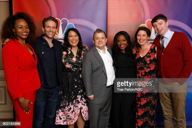 EVENTS NBCUniversal Press Tour January 2018 'AP Bio' Pictured Pearlena Igbokwe President Universal Television Glenn Howerton Mary Sohn Patton Oswalt...