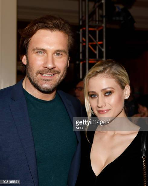 EVENTS NBCUniversal Press Tour January 2018 CNBC's Jay Leno's Garage Cocktail Reception Pictured Clive Standen Taken Olivia Taylor Dudley The...