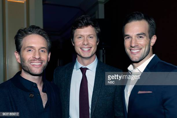 EVENTS NBCUniversal Press Tour January 2018 'CNBC's 'Jay Leno's Garage' Cocktail Reception' Pictured Glenn Howerton 'AP Bio' Anders Holm Andy Favreau...