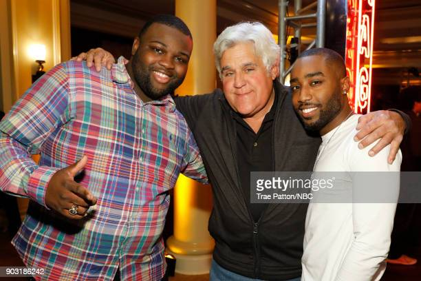 EVENTS NBCUniversal Press Tour January 2018 'CNBC's 'Jay Leno's Garage' Cocktail Reception' Pictured Wavvy Jonez Jay Leno Marcc Rose from USA...