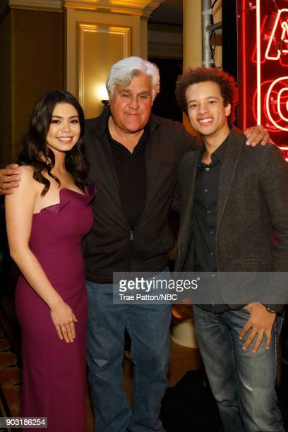 EVENTS NBCUniversal Press Tour January 2018 'CNBC's 'Jay Leno's Garage' Cocktail Reception' Pictured Auli'i Cravalho Jay Leno Damon J Gillespie NBC's...