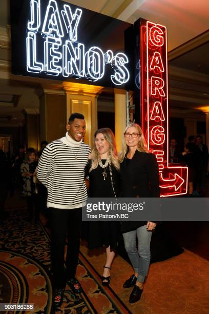 EVENTS NBCUniversal Press Tour January 2018 'CNBC's 'Jay Leno's Garage' Cocktail Reception' Pictured Chris Blue Kelly Clarkson Audrey Morrissey...
