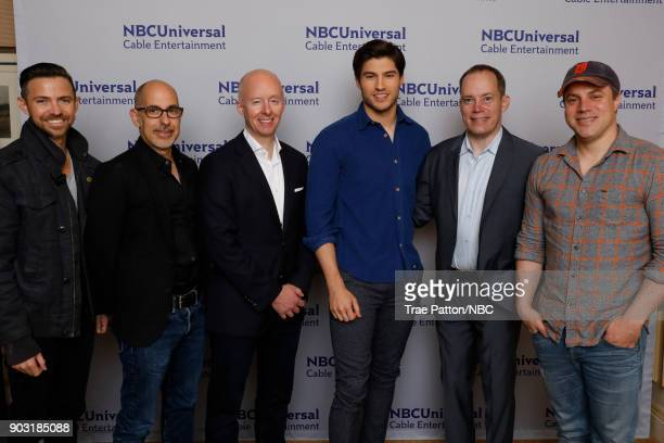 EVENTS NBCUniversal Press Tour January 2018 'Krypton' Cast Pictured Cameron Welch Executive Producer David S Goyer Executive Producer Chris McCumber...