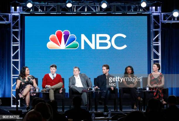 EVENTS NBCUniversal Press Tour January 2018 NBC's 'AP Bio' Session Pictured Mary Sohn Mike O'Brien Executive Producer Patton Oswalt Glenn Howerton...