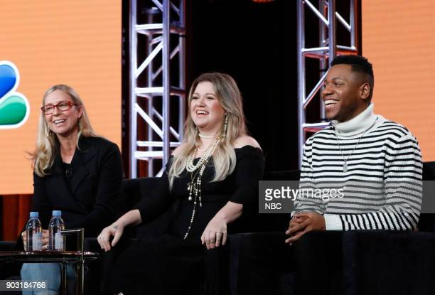 EVENTS NBCUniversal Press Tour January 2018 NBC's 'The Voice' Session Pictured Audrey Morrissey Executive Producer Kelly Clarkson Coach Chris Blue...