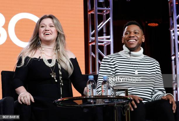 EVENTS NBCUniversal Press Tour January 2018 NBC's 'The Voice' Session Pictured Kelly Clarkson Coach Chris Blue Season 12 Winner