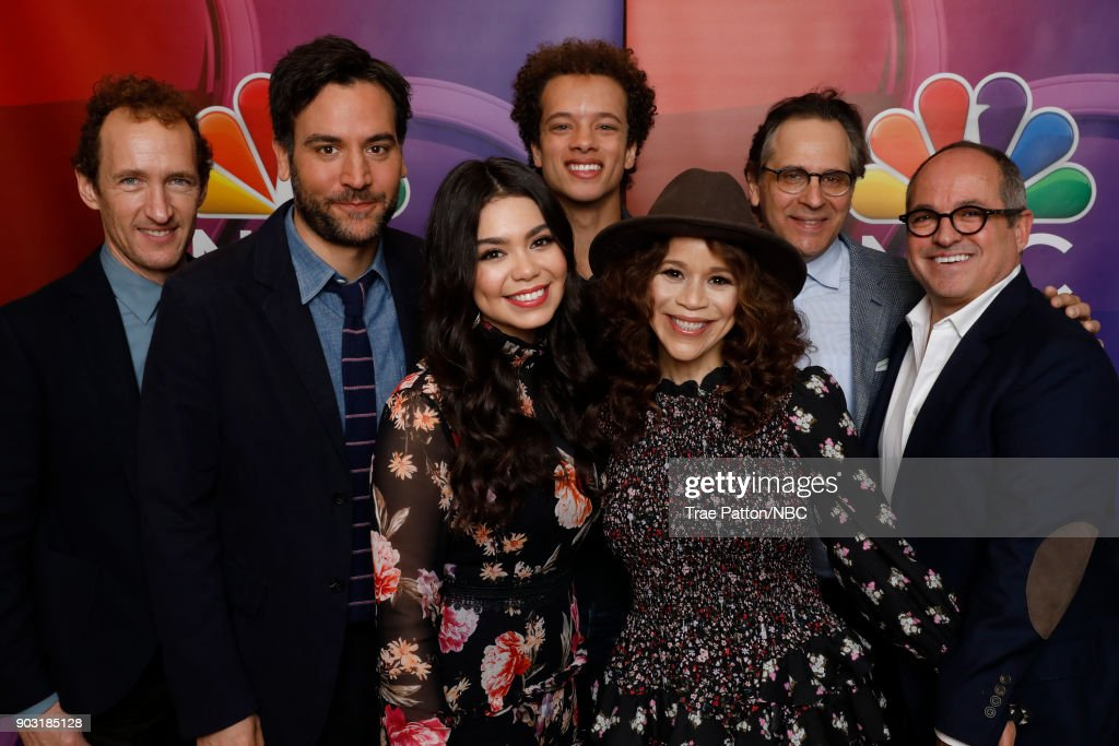 EVENTS -- NBCUniversal Press Tour, January 2018 -- 'Rise' Cast -- Pictured: (l-r) Jeffrey Seller, Executive Producer, Josh Radnor, Auli'i Cravalho, Damon J. Gillespie, Rosie Perez, Jason Katims, Executive Producer, Flody Suarez, Executive Producer --