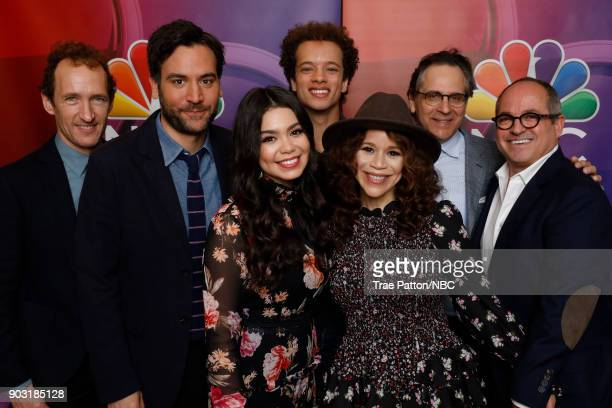 EVENTS NBCUniversal Press Tour January 2018 'Rise' Cast Pictured Jeffrey Seller Executive Producer Josh Radnor Auli'i Cravalho Damon J Gillespie...