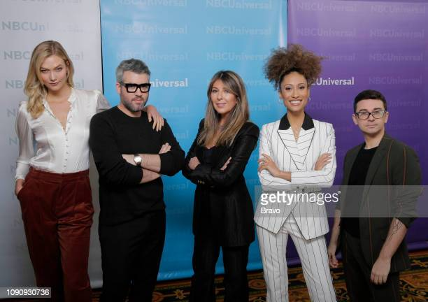 EVENTS NBCUniversal Press Tour January 2019 Bravo's Project Runway Pictured Karlie Kloss Host Brandon Maxwell Judge Nina Garcia Judge Elaine...