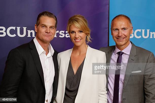 EVENTS NBCUniversal Press Tour July 2014 Ascension Pictured Brian Van Holt Tricia Helfer Dave Howe President Syfy