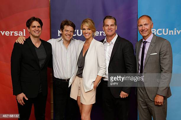 EVENTS NBCUniversal Press Tour July 2014 Ascension Pictured Phil Levens Executive Producer Jason Blum Executive Producer Tricia Helfer Brian Van Holt...