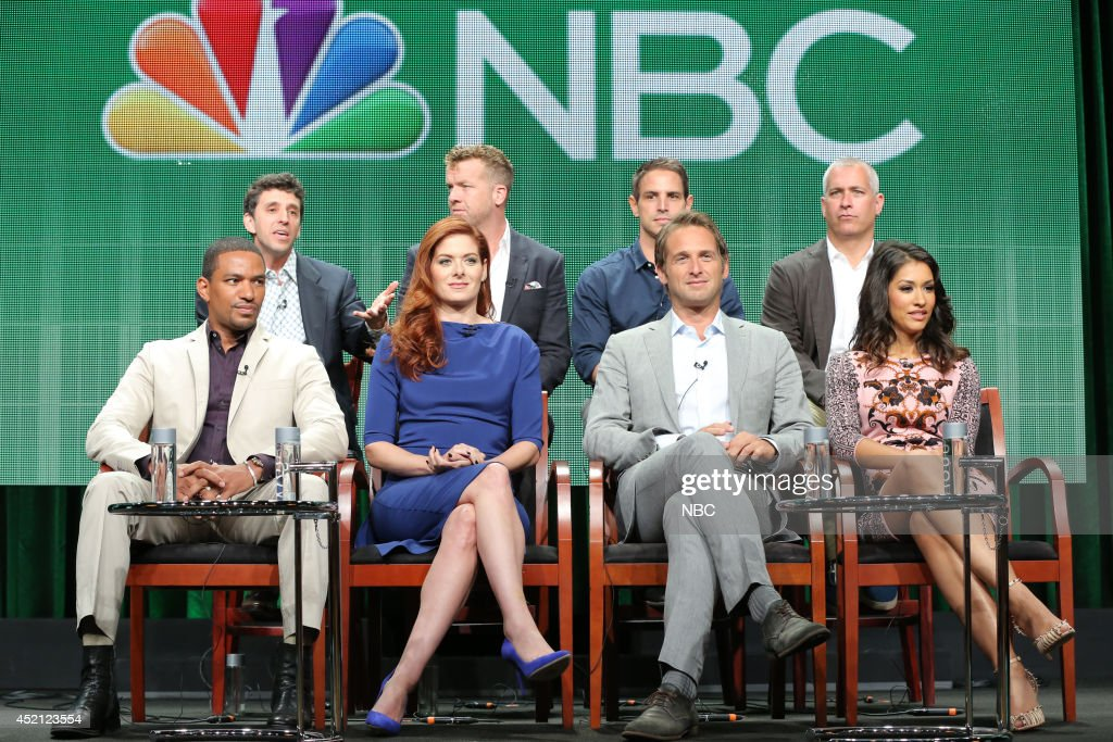 EVENTS -- NBCUniversal Press Tour, July 2014 -- 'The Mysteries of Laura' Session -- Pictured: (l-r) Laz Alonso; Jeff Rake, Executive Producer; Debra Messing; McG, Executive Producer; Greg Berlanti, Executive Producer; Josh Lucas; Aaron Kaplan, Executive Producer; Janina Gavankar --