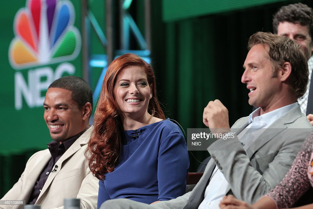 EVENTS -- NBCUniversal Press Tour, July 2014 -- 'The Mysteries of Laura' Session -- Pictured: (l-r) Laz Alonso; Debra Messing; Josh Lucas; Jeff Rake, Executive Producer --