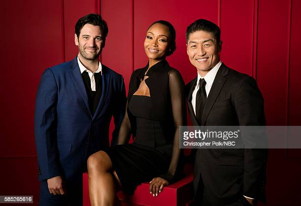 """NBCUniversal Press Tour Portraits, AUGUST 02, 2016: Actors Colin Donnell, Yaya Dacosta, and Brian Tee of """"Chicago Med"""" pose for a portrait in the the..."""