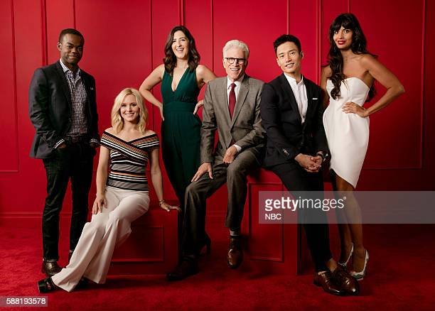 EVENTS NBCUniversal Press Tour Portraits AUGUST 02 2016 Actors William Jackson Harper Kristen Bell D'Arcy Carden Ted Danson Manny Jacinto and Jameela...