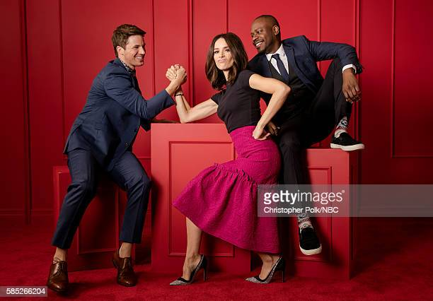 EVENTS NBCUniversal Press Tour Portraits AUGUST 02 2016 Matt Lanter Abigail Spencer and Malcolm Barrett of 'Timeless' pose for a portrait in the the...