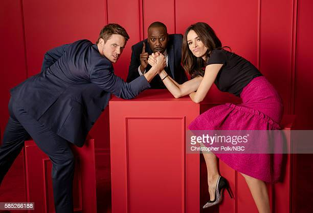 EVENTS NBCUniversal Press Tour Portraits AUGUST 02 2016 Matt Lanter Malcolm Barrett and Abigail Spencer of 'Timeless' pose for a portrait in the the...