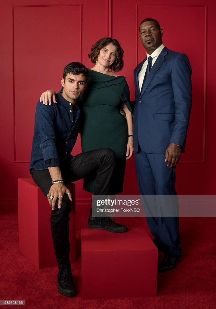 EVENTS -- NBCUniversal Press Tour Portraits, AUGUST 03, 2016: (L-R) Actors Sean Teale, Julia Ormond and Dennis Haysbert of 'Incorporated' pose for a portrait in the the NBCUniversal Press Tour portrait studio at The Beverly Hilton Hotel on August 3, 2016 in Beverly Hills, California.