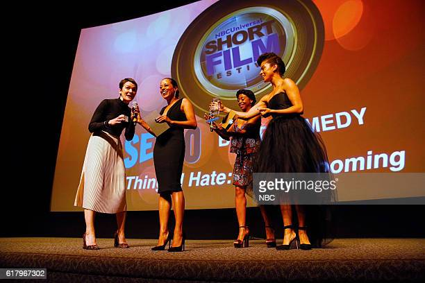 EVENTS NBCUniversal Short Film Festival 2016 Pictured Molly Anne Coogan Writer/Actor Lady Grooming Essence Atkins Bresha Webb Presenters Kelcy Griffin