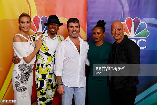EVENTS NBCUniversal Summer Press Day April 1 2016 NBC's 'America's Got Talent' Pictured Heidi Klum Nick Cannon Simon Cowell CoCreator/Executive...