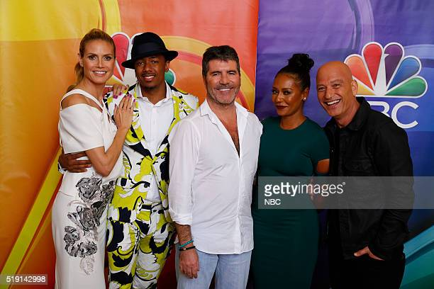 EVENTS NBCUniversal Summer Press Day April 1 2016 NBC's 'America's Got Talent' Pictured Heidi Klum Nick Cannon Simon Cowell CoCreator/Executive...