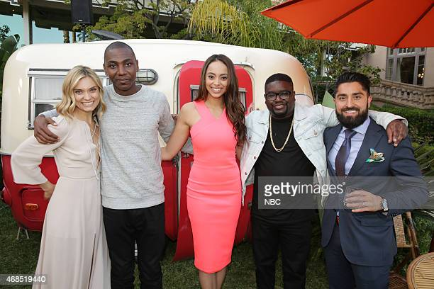 EVENTS NBCUniversal Summer Press Day April 2015 Cocktail Reception Pictured Spencer Grammer Mr Robinson Jerrod Carmichael Amber Stevens West Lil Rel...