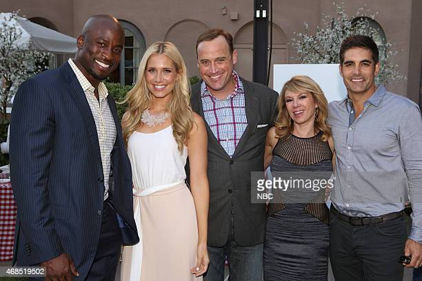 EVENTS NBCUniversal Summer Press Day April 2015 Cocktail Reception Pictured Akbar Gbajabiamila Kristine Leahy Matt Iseman 'American Ninja Warrior'...