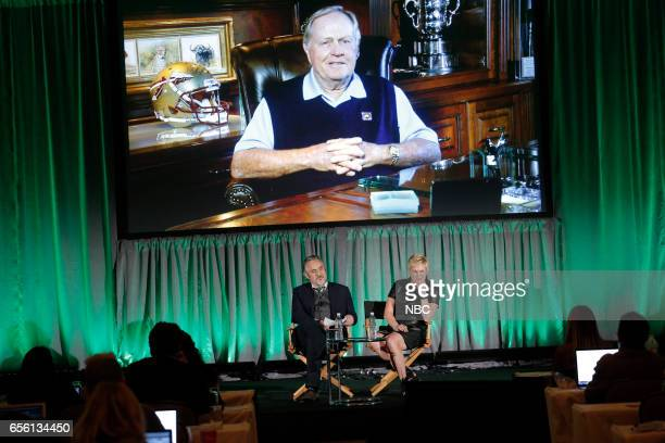 NBCUniversal Summer Press Day Golf Channel's 'Feherty' and 'Jack' Session Pictured David Feherty Molly Solomon Executive Producer Via Satellite Jack...