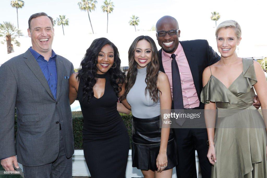 NBCUniversal Summer Press Day -- Pictured: (l-r) Matt Iseman, NBC's 'American Ninja Warrior'; Tiffany Haddish, NBC's 'The Carmichael Show'; Amber Stevens West, NBC's 'The Carmichael Show'; Akbar Gbajabiamila, NBC's 'American Ninja Warrior'; Kristine Leahy, NBC's 'American Ninja Warrior' --