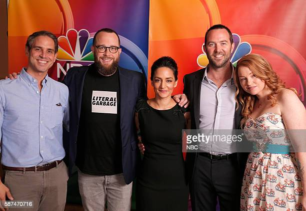 EVENTS NBCUniversal Summer Press Tour August 2 2016 NBC's 'Blindspot' cast Pictured Greg Berlanti Executive Producer Martin Gero Executive Producer...