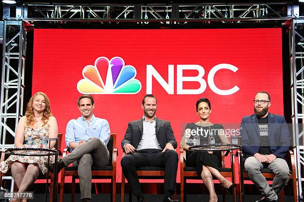 EVENTS NBCUniversal Summer Press Tour August 2 2016 NBC's 'Blindspot' Panel Pictured Sarah Schechter Executive Producer Greg Berlanti Executive...