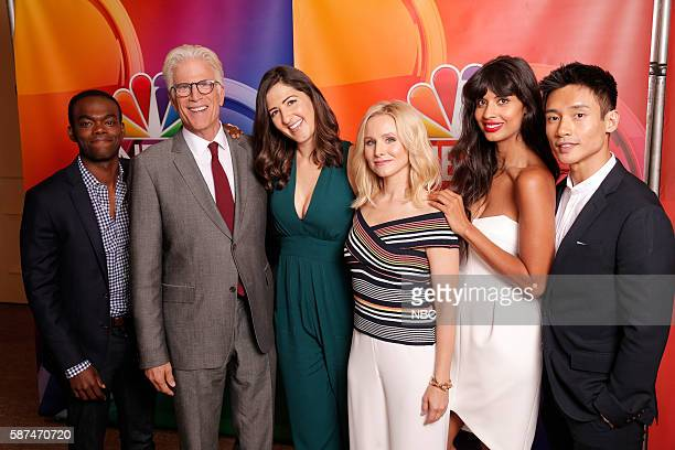 "NBCUniversal Summer Press Tour, August 2, 2016 -- NBC's ""The Good Place"" cast -- Pictured: William Jackson Harper, Ted Danson, D?Arcy Carden, Kristen..."