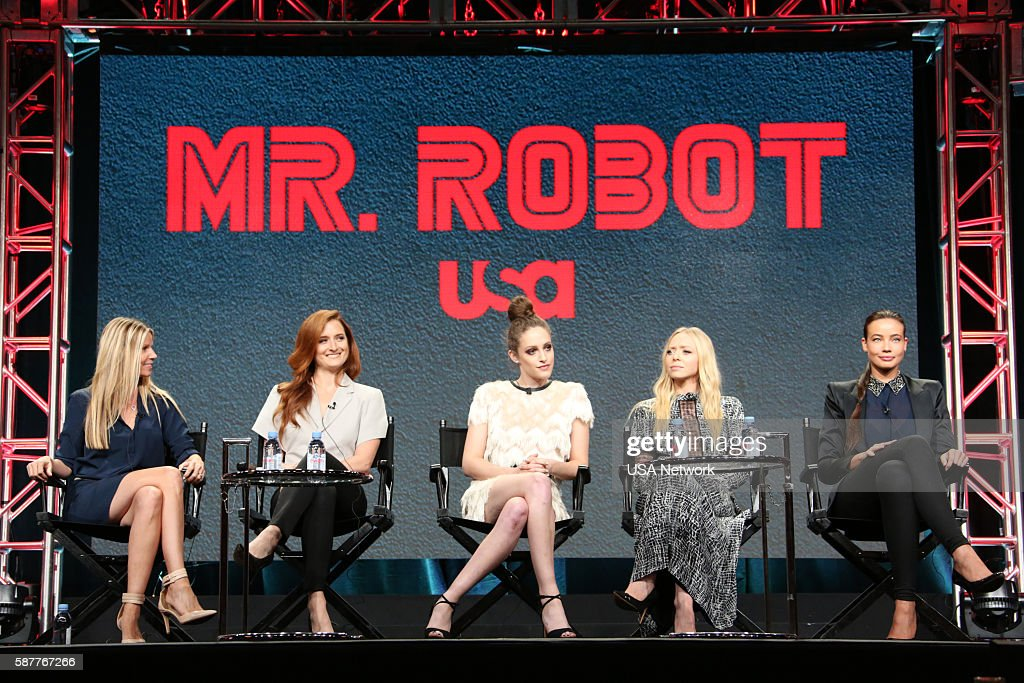 EVENTS -- NBCUniversal Summer Press Tour, August 3, 2016 -- USA's 'Mr. Robot' Panel: 'Decoding Season_2.0 With The Women of Mr. Robot' -- Pictured: (l-r) Dawn Olmsted, Executive Vice President, Universal Cable Productions and Wilshire Studios; Grace Gummer, Carly Chaikin, Portia Doubleday, Stephanie Corneliussen --
