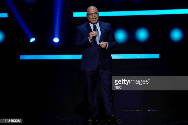 """NBCUniversal Upfront in New York City on Monday, May 13, 2019 -- Pictured: Mike Tirico, """"NBC Sports"""" on NBC --"""