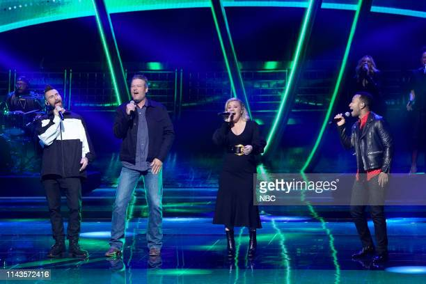 """NBCUniversal Upfront in New York City on Monday, May 13, 2019 -- Pictured: Adam Levine, Blake Shelton, Kelly Clarkson, John Legend, """"The Voice"""" on..."""