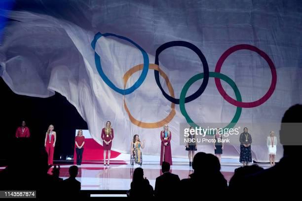 NBCUniversal Upfront in New York City on Monday, May 13, 2019 -- Pictured: Olympian Jackie Joyner-Kersee, Olympian Tara Lipinski, Olympian Kerri...