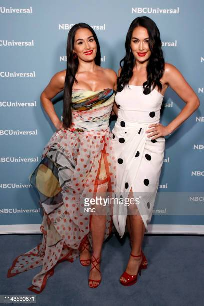 NBCUniversal Upfront in New York City on Monday May 13 2019 Pictured Nikki Bella Brie Bella WWE on USA Network