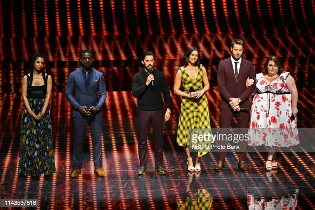 NBCUniversal Upfront in New York City on Monday May 13 2019 Pictured Susan Kelechi Watson Sterling K Brown Milo Ventimiglia Mandy Moore Justin...